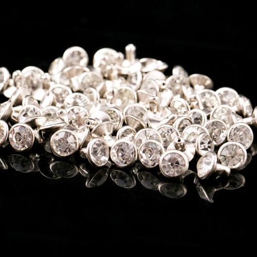 6-11.5mm Silver Rhinestone Diamond Rivet Spikes Leathercraft Belt Bag Biker Punk