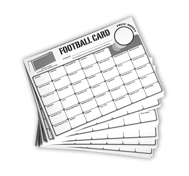 100 Fundraising Football Charity Scratch Cards 40 Team