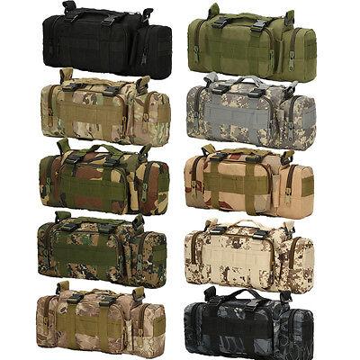 Men's Nylon Outdoor Military Tactical 3P Messenger Shoulder Fanny Pack Waist Bag