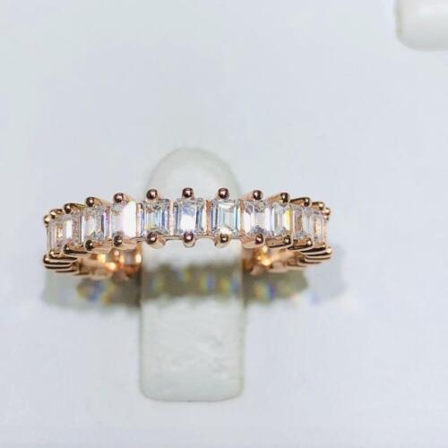 18k Rose Gold Sterling Silver White Sapphire Baguette Eternity Band Ring Size 8