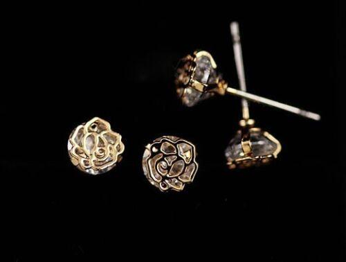 """Super Mousseux /""""rose/"""" Or Rose Plaqué Or//zircone cubique stud earring"""