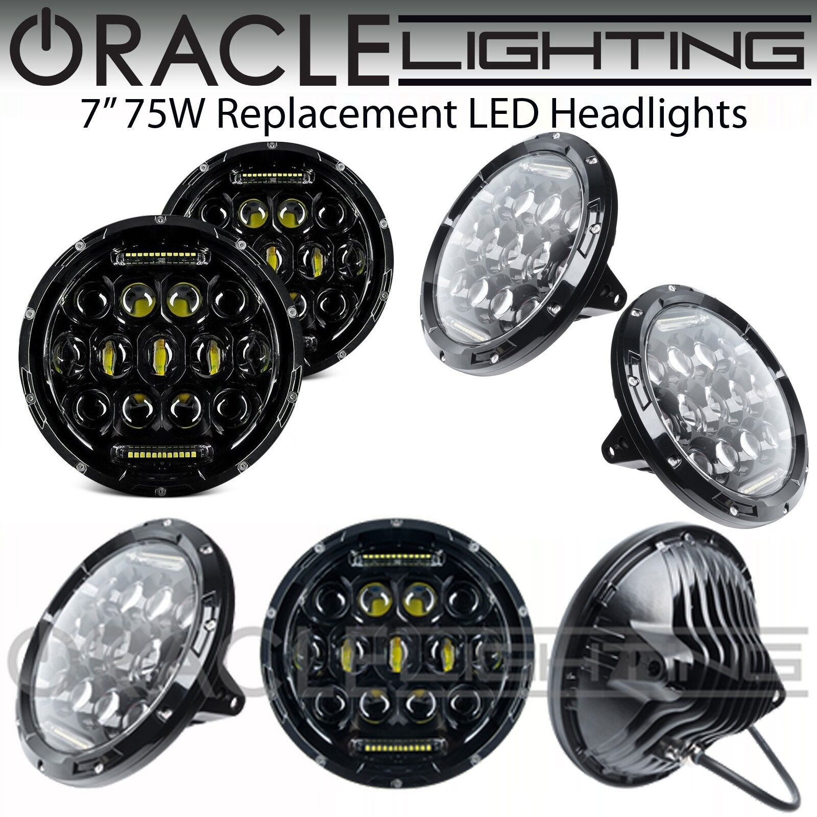 Oracle 7 Quot Sealed Beam 75w Replacement Led Round Headlights