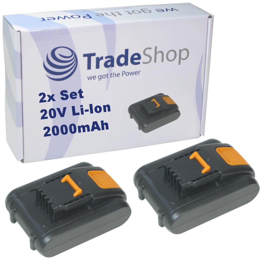 2x Premium AKKU 20V 2000mAh Li-Ion ersetzt Worx WA3528 WA3553.2 WA3551.1