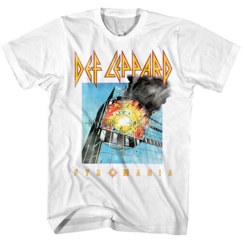 Def Leppard Pyromania Album Cover Men/'s T Shirt Fadded Explosion Rock Band Tour