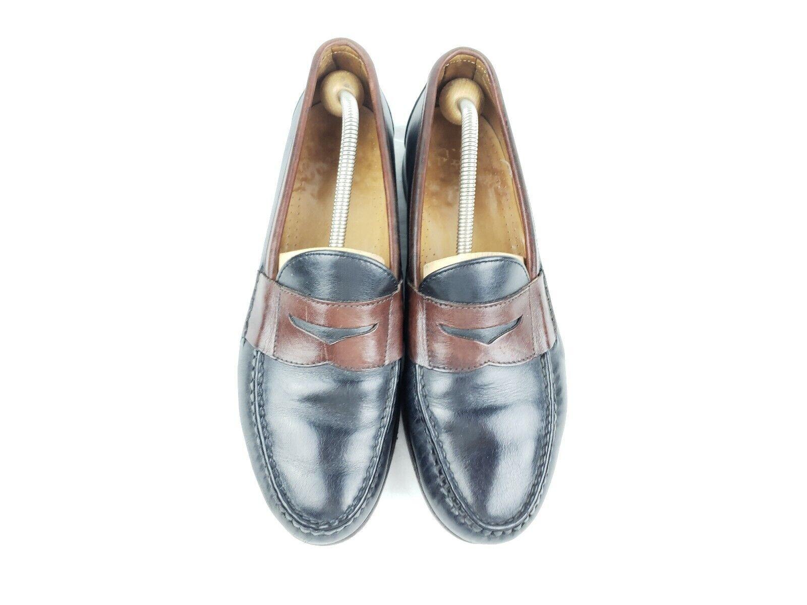ALLEN EDMONDS BRANDON men's black brown leather new shoes penny loafers  10.5 D USA
