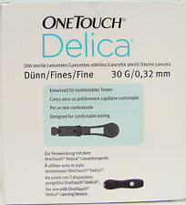 Onetouch delicia Dedo pinchazo Lancetas, Pack De 200, confort pruebas,30 g 0,32 mm