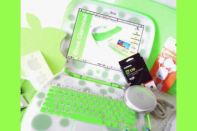 "rarw 367mhz ⭐️⭐️⭐️⭐️⭐ Reliable Performance Apple Ibook Clamshell G3 16gb Ssd Hd ""key Lime"" Poka Dot"