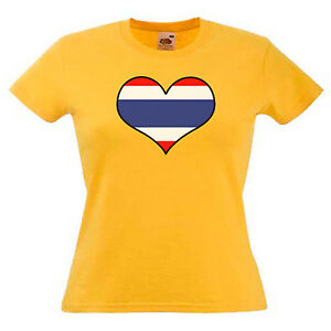 Tailandia-Bandiera-Amore-Cuore-Donna-Lady-Fit-T-Shirt