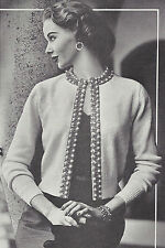 Vintage Knitting PATTERN to make Beaded Border Cardigan Sweater Jacket 50s Beade