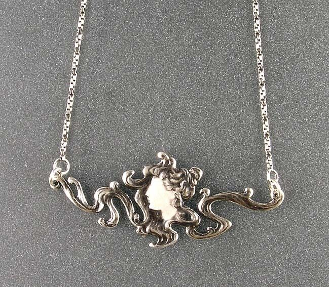 925er silver Jugendstil Collier nach Mucha N