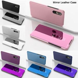 Para-iPhone-XR-XS-Max-Funda-Inteligente-X-Espejo-Retrovisor-Con-Funda-De-Cuero-con-cierre-Magnetico