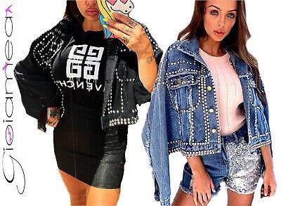 Giacca di Jeans Donna Frange Borchie Particolare Giubbotto Moda Demin Moda Girl