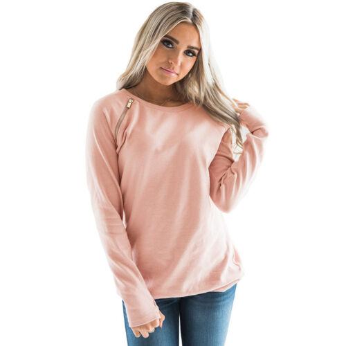 Damen Unifarben Langarm Beiläufig Rundhals Sweatshirt Pullover T-Shirt Hoodie XL