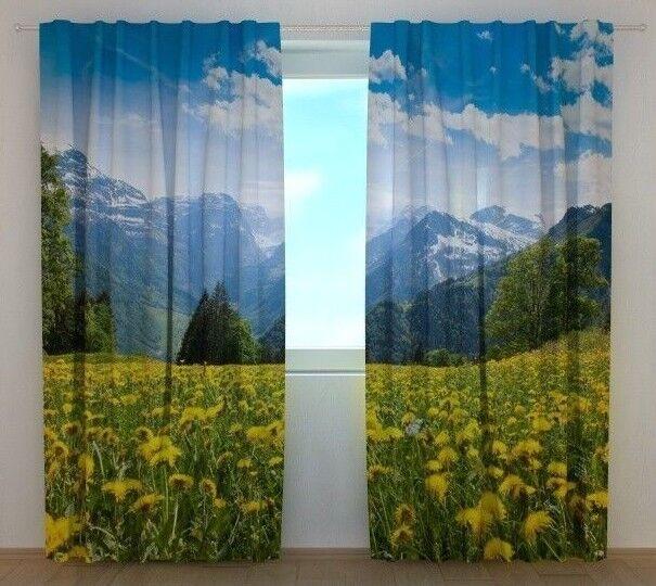 Cortina Alps wellmira personalizado hecho Ventana Impresa 3D montañas Naturaleza Motif