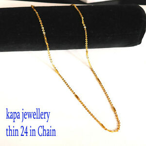 kapa 24 inch 18ct gold Braided Wheat Rope Chain Necklace 2.5mm thick