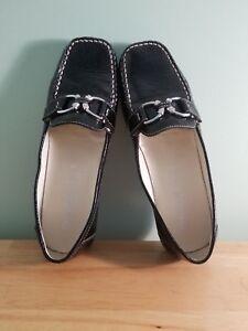 db2832df8c GEOX RESPIRA Women's Black Patent Leather White Stitched Slip On ...