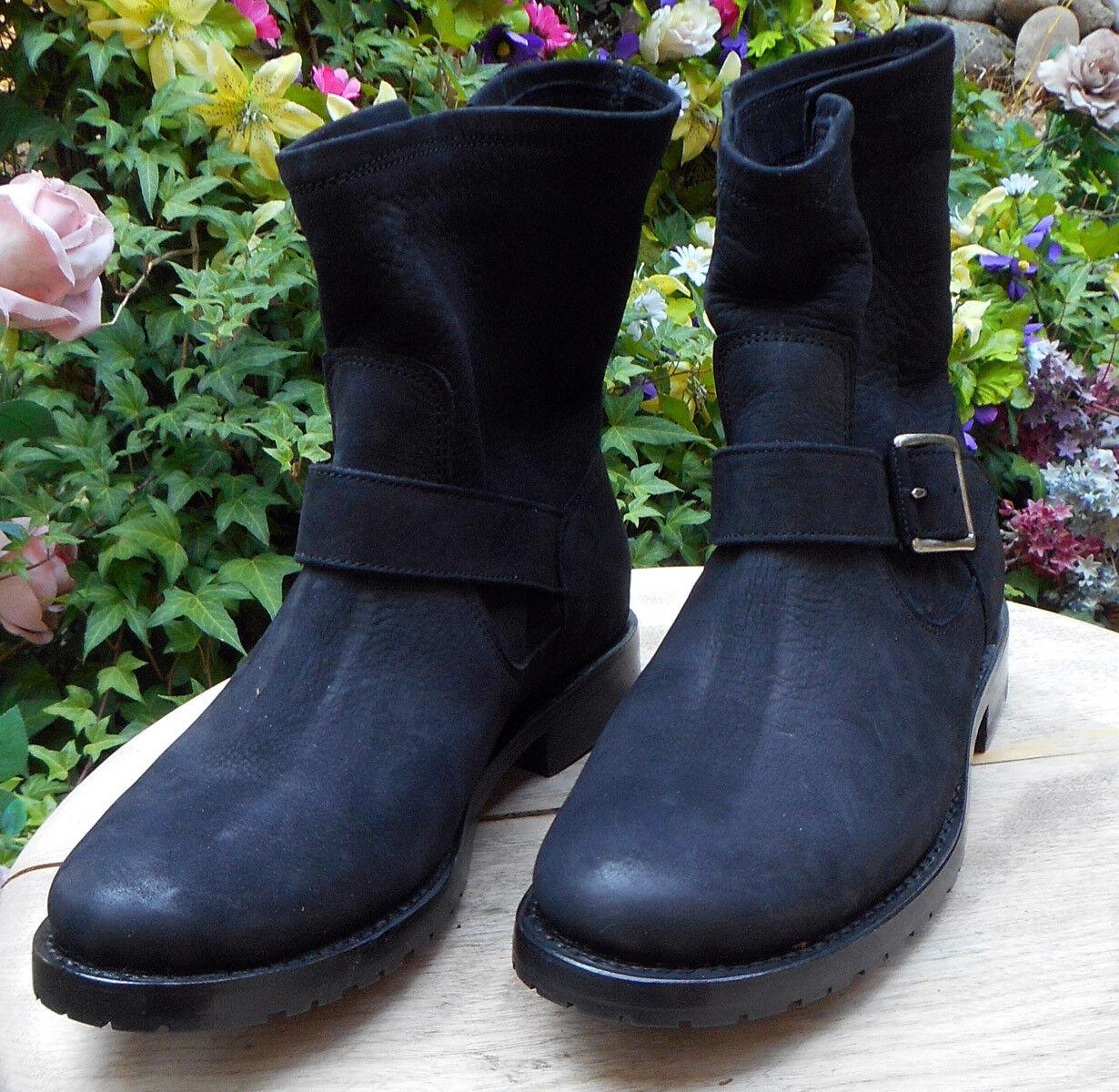 New  FRYE Women's Natalie Short Black Napa Leather Engineer Boot  7 M