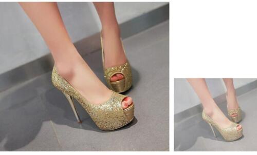 Stiletto Scarpe decolte eleganti donna spillo plateau 13.5  oro strass 8552