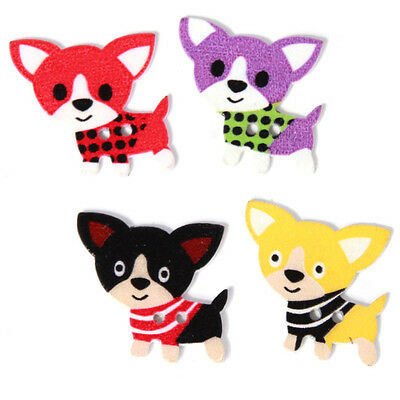 250x Wholesale Mixed Colorful Cartoon Dogs Patterns Wooden Buttons Two Holes LC