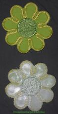 GREEN SUNFLOWER 1970-80's Sew-On Embroidered Patch 1 1/2  Inch HIPPIE Groovy !