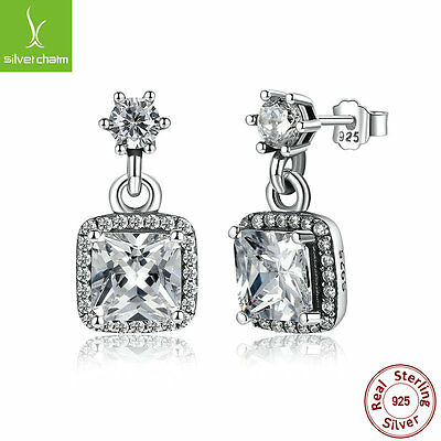 European Authentic 925 Sterling Timeless Elegance Stud Earrings Clear CZ Jewelry