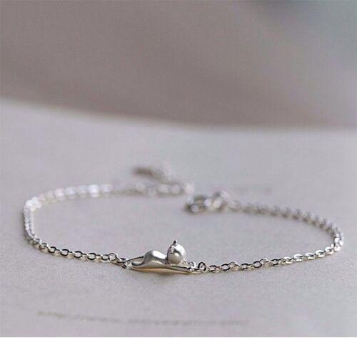 Tiny 925 Silver Cat Bracelet in FREE Gift Bag//Box 3D Sterling Kitten Charm UK