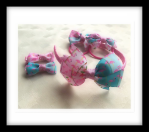 Flamingo print Girl/'s Headband//Hair Bobbles//Clips Handmade PINK // Sparkly