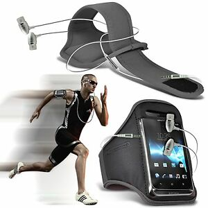 Quality-Sports-Armband-Gym-Running-Phone-Case-Cover-In-Ear-Headphones-GREY