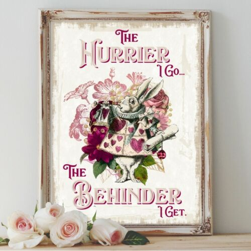 Alice in Wonderland Print White Rabbit Quote Gift Tea Party Home Wall Art