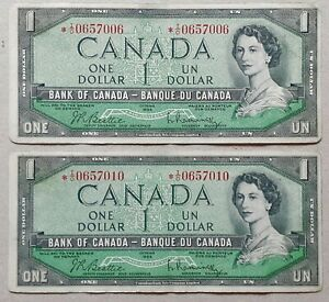 1954-BANK-OF-CANADA-1-Dollar-Set-of-2-Replacement-Note-I-O-BC-37bA