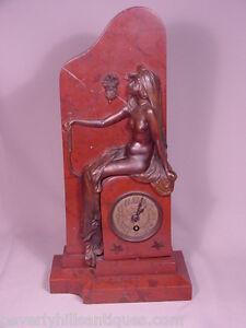 Großartige Antik Jugendstil Bronze und Rouge Marmor Uhr