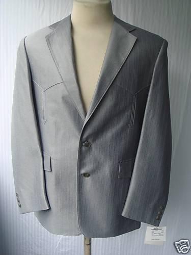 44L 36W New  Herren Western Wear Suit Ocean grau Warp Knit
