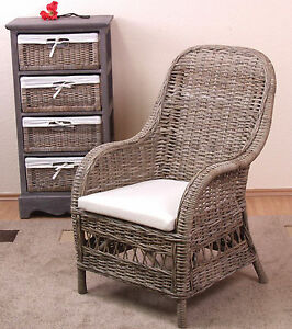 rattansessel grau inklusive kissen kubu rattan sessel rattanstuhl rattan stuhl ebay. Black Bedroom Furniture Sets. Home Design Ideas