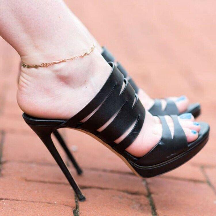 Super High Heel Damenschuhe Peeptoe Stiletto Platform Mules Hackenfrei Open Toe