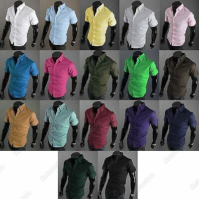 Mens Boys SKINNY SLIM FIT Short Sleeved Shirt - Smart Casual Formal Plain Colour