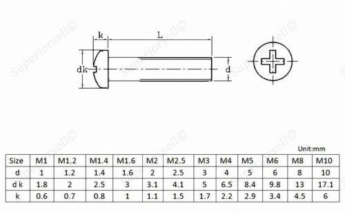 A2 304 Stainless Steel Phillips Round Pan Head Machine Screw M6 M8 M10