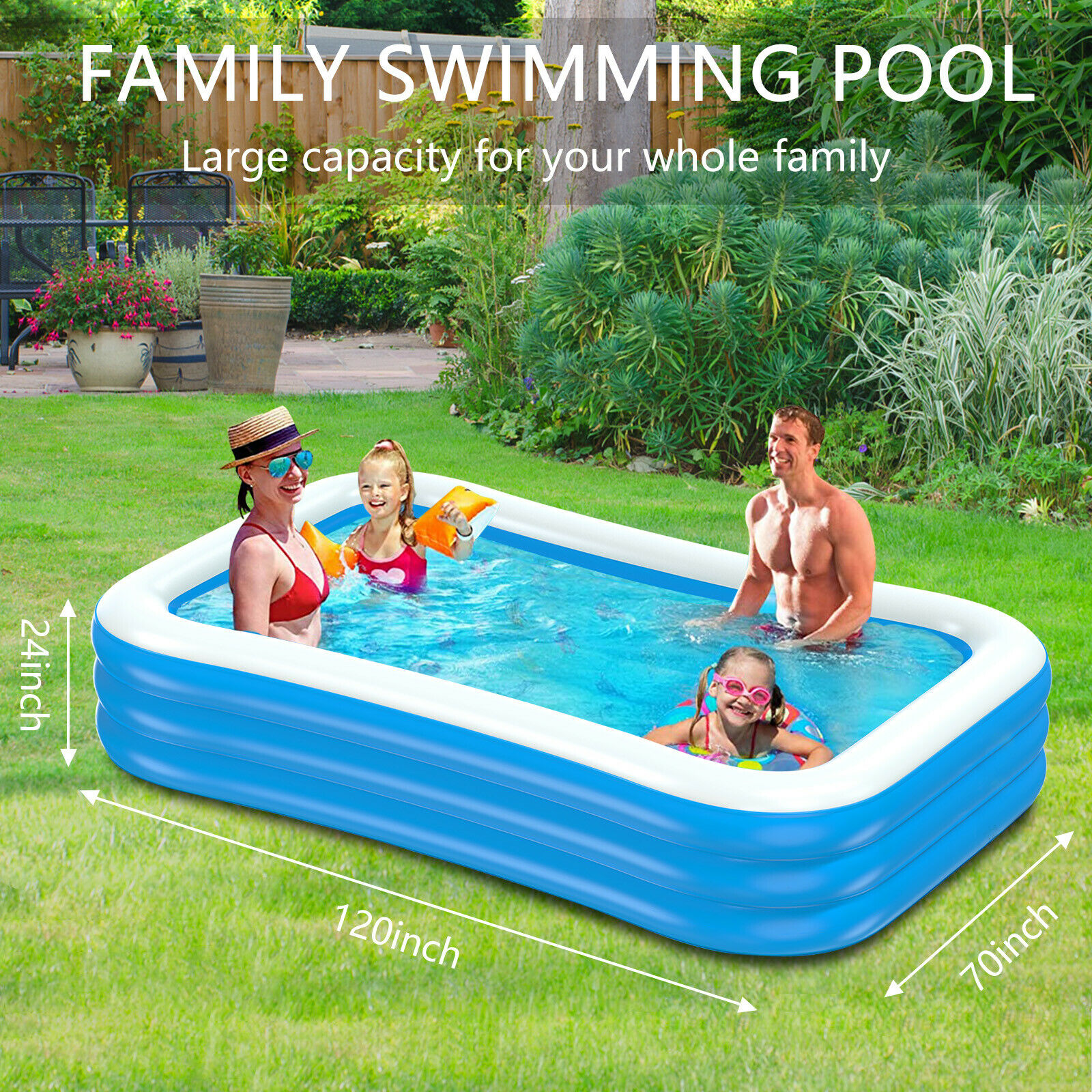 Paddling Pool Inflatable Swimming Pool Kids Adult Family Outdoor Garden Pool UK