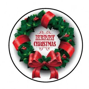 """48 MERRY CHRISTMAS WREATH ENVELOPE SEALS LABELS STICKERS 1.2/"""" ROUND"""