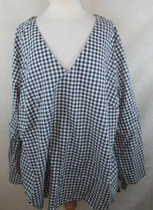 ffdb641a823 Ava Viv Womens Plus Size Peasant Top Shirt Blouse Gingham Bow Tie ...