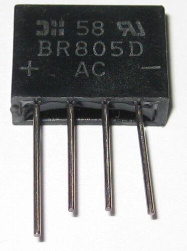 2 Amp 50 Volt Low Profile Bridge Small PC Board Mount Rectifier 50V 2A BR805