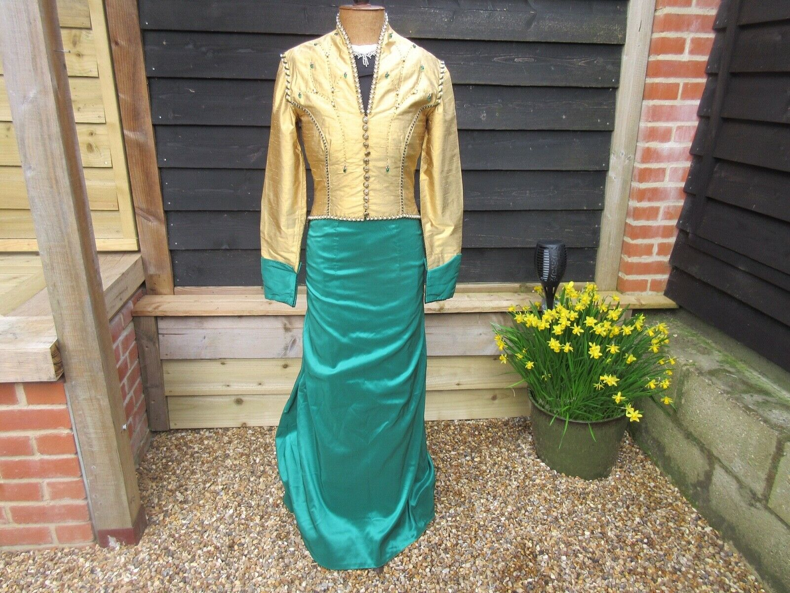 Vintage theatrical,special occasion costume gold pearl beaded jacket & skirt
