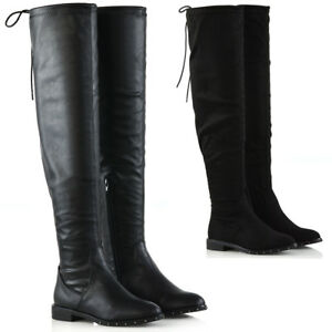 Womens-Over-The-Knee-Studded-Sole-Flat-Ladies-Stretch-Calf-Thigh-High-Boots-Size