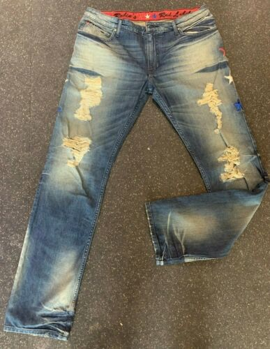 Robin/'s Jean Red Label Stars # RL1036 Ripped Broken Men  SZ 32-38 Retail $200