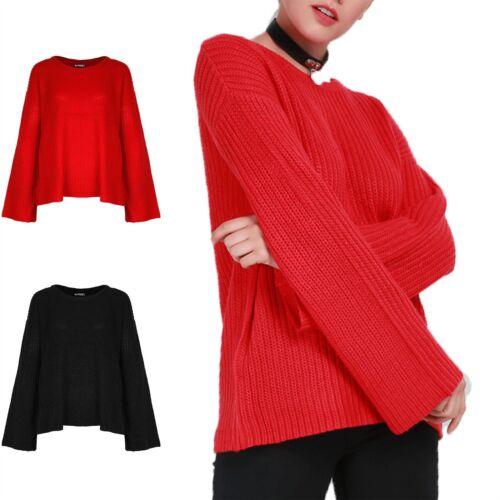 Donna con lavorazione a trama grossa svasata manica Oversize Pullover Sweater Jumper Baggy