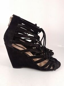 c70c6e576ce47 Forever 21 Black Faux-Leather Strappy Cage Wedge Lace Up Sandals for ...