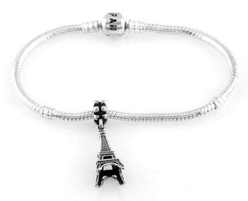 Sterling Silver Dangle Paris Tour Eiffel perle européenne