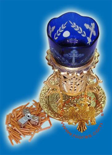 Orthodox Byzantine Gianniotiko Standing Vigil Oil Candle Romanian Glass Cup 15cm