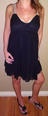 Charlotte Russe Black champagne empire chiffon New Years prom sexy mini dress S