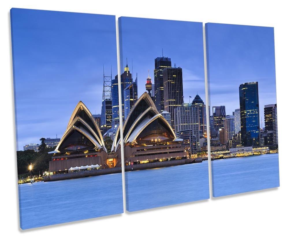 Sydney Opera House Blu incorniciato Treble Treble Treble stampa art. a muro 972baa