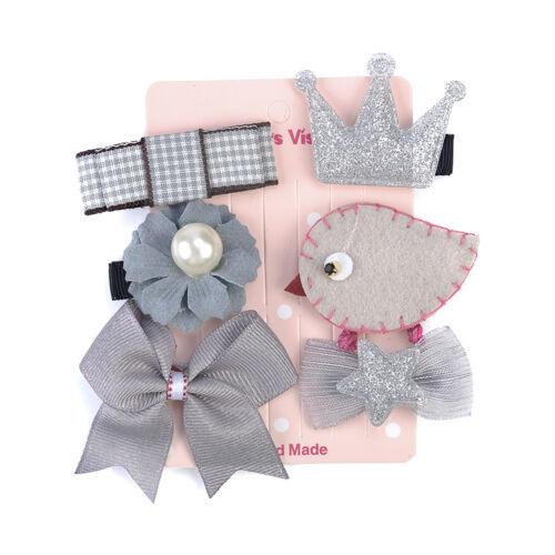 6pcs Baby Girls Hair Clip Bow Cartoon Animal Princess Hairpin Hair Accessories